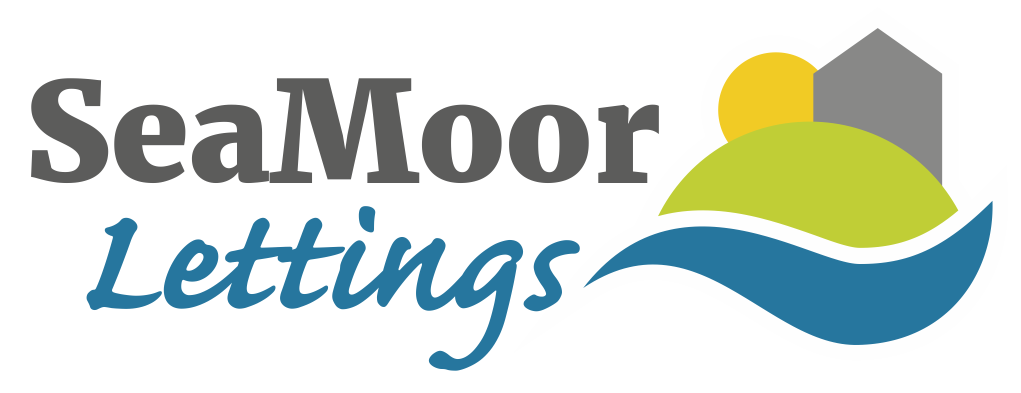 The logo for SeaMoor lettings, showing a house graphic next to a green hill and blue wave.