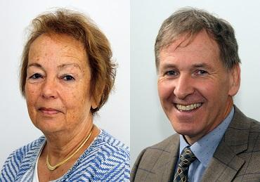 portrait style photographs of Cllr Judy Pearce, Leader of South Hams District Council; and Cllr Neil Jory, Leader of West Devon Borough Council