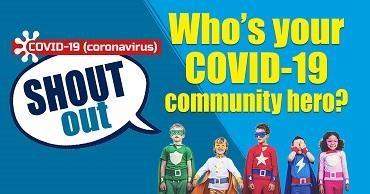 "Five children dressed as superheros on a blue background. A speech bubble reads ""Covid-19 SHOUT OUT""."