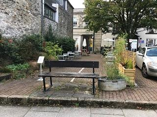 A photograph of the open area at Bank Square in Tavistock, one of the areas available for hospitality businesses to use.