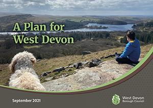 """A person and dog looking across Burrator Reservoir with the heading """"A Plan for West Devon"""""""
