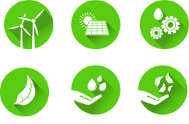 Six circular icons depicting green technology such as wind turbines and solar panels